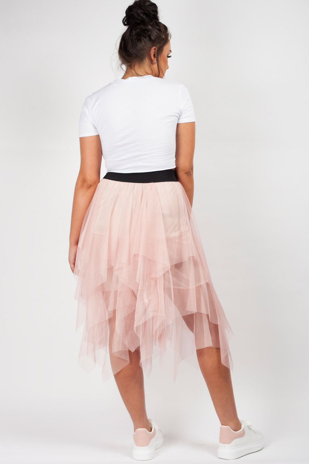 mesh layered skirt pink
