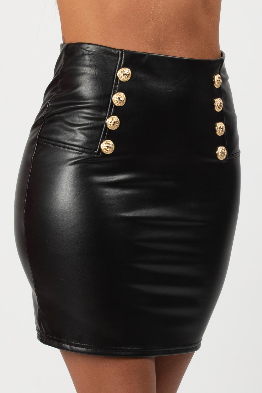Black Vegan Leather Mini Skirt With Gold Button Detail