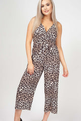 animal print culotte jumpsuit