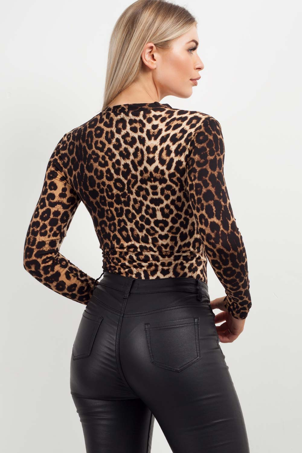 long sleeve plunge bodysuit animal print