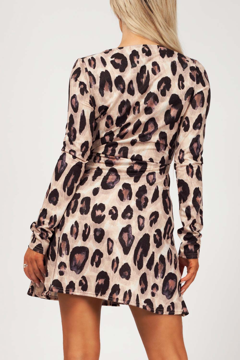 long sleeve wrap dress animal print