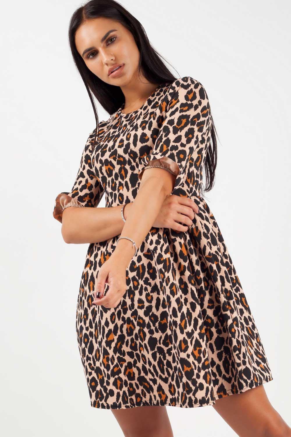 short sleeve skater dress in leopard print
