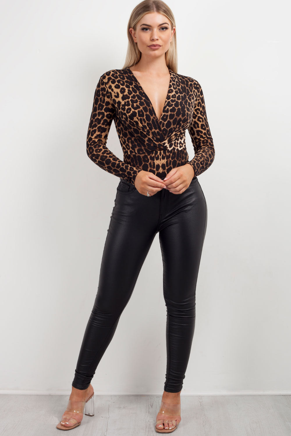 long sleeve plunge bodysuit
