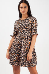 leopard print short sleeve mini skater dress