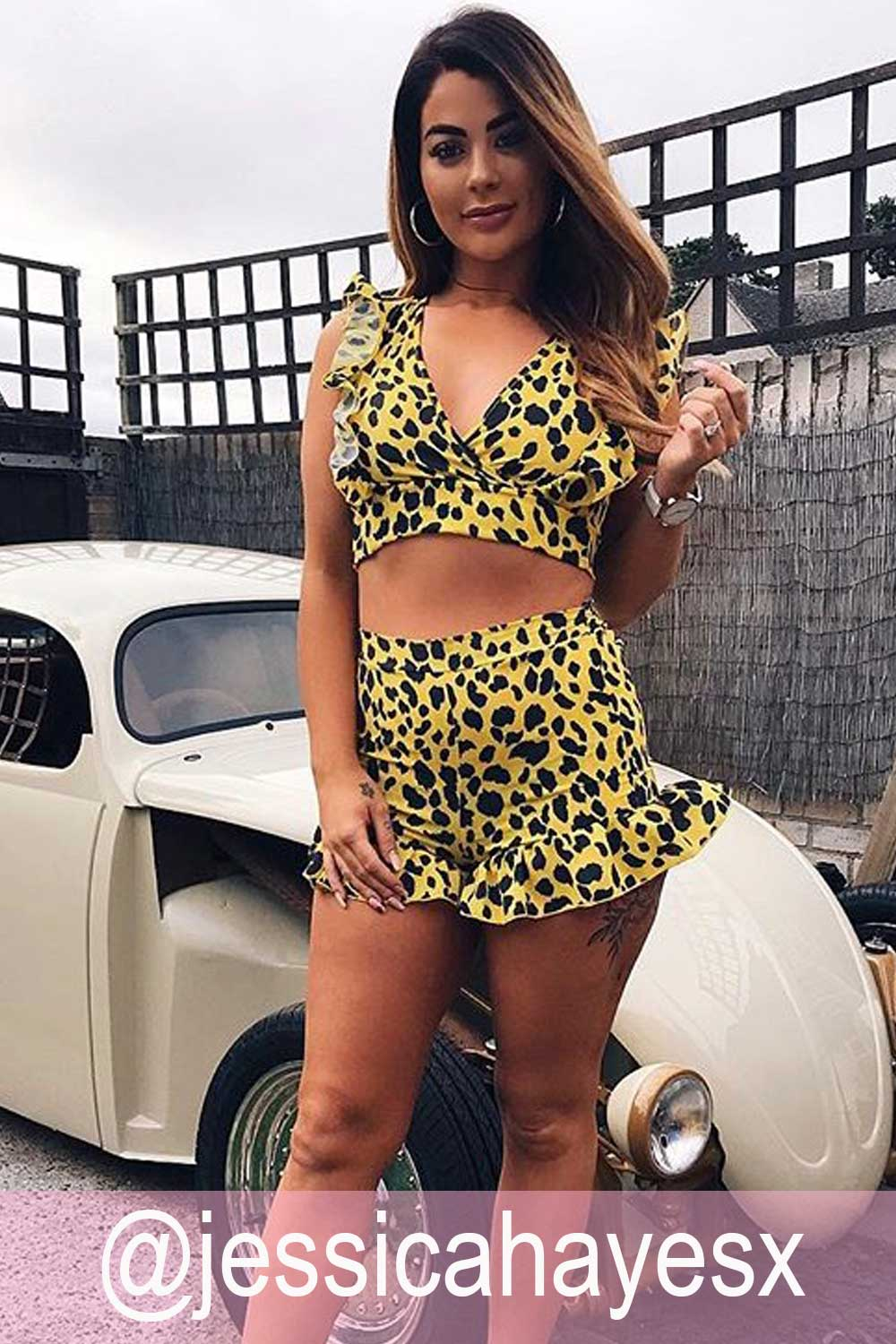 yellow leopard print co ord
