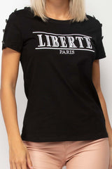 Black Liberte Paris Embroidery T Shirt Balmain Inspired