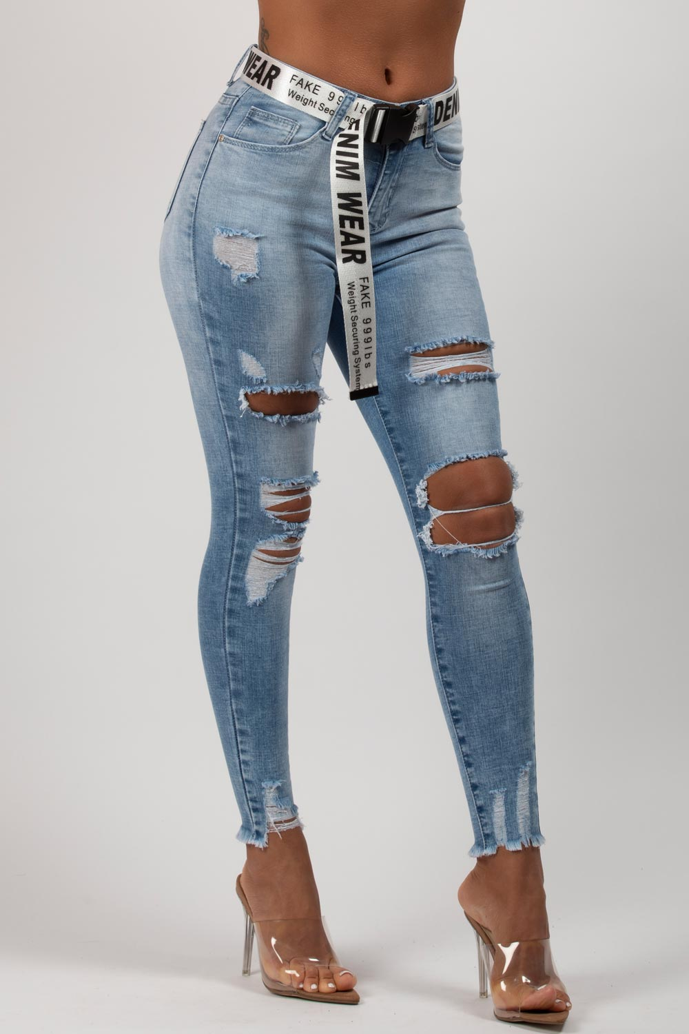 ripped light wash skinny jeans