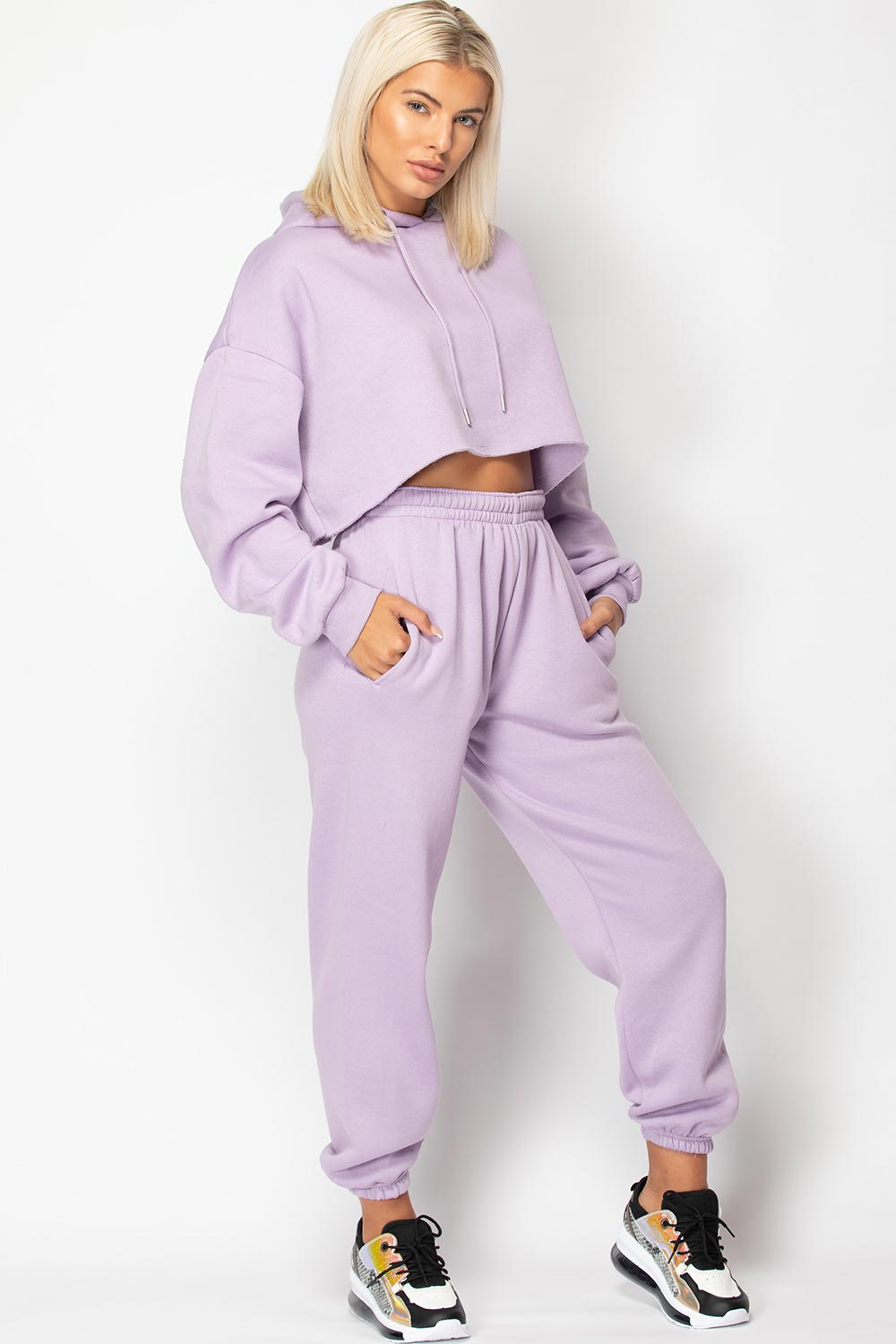 lilac joggers and hoodie lounge set
