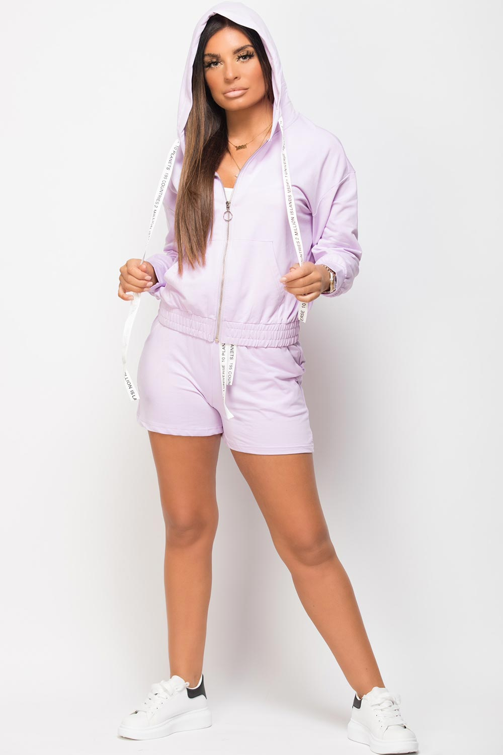 short top and hoodie set lilac