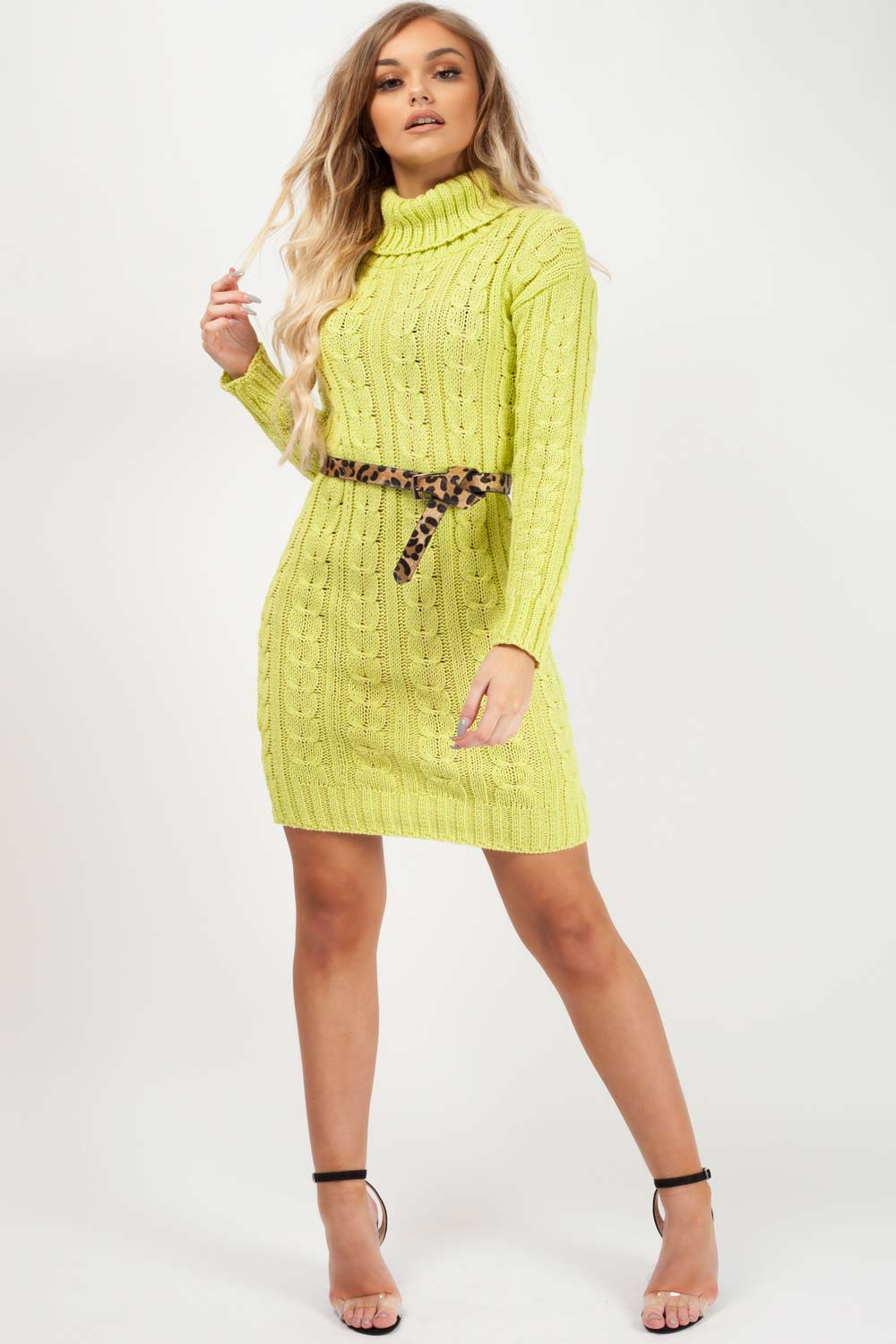 knitted dress lime green