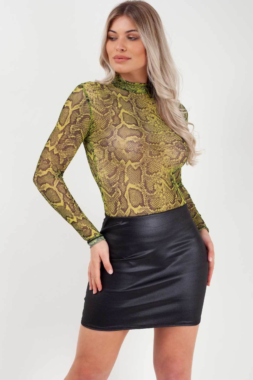 snake print bodysuit long sleeve