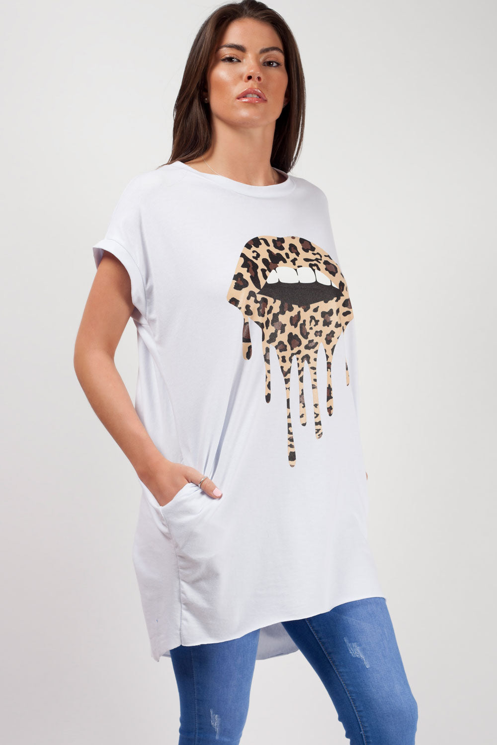 lips print oversized t shirt white styledup fashion