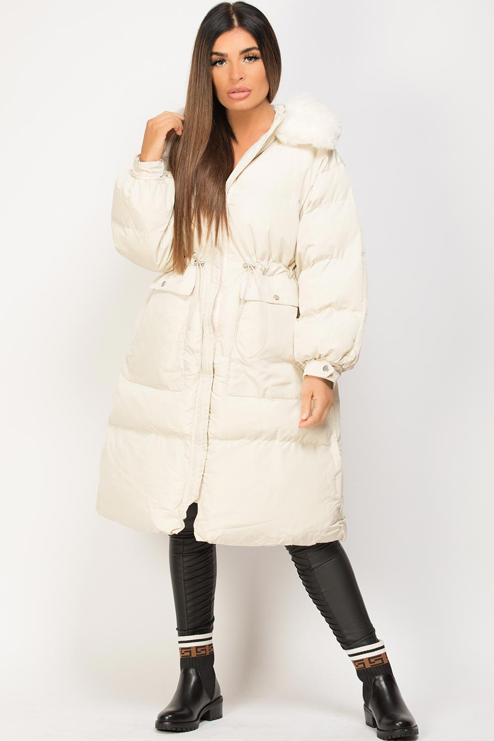 long puffer coat with faux fur hood cream