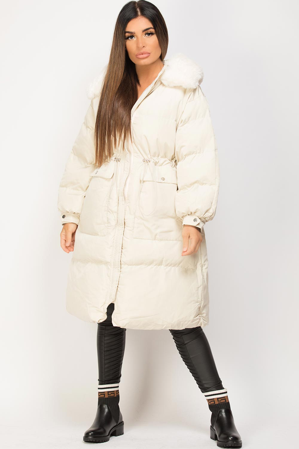 long puffer padded coat with faux fur hood cream