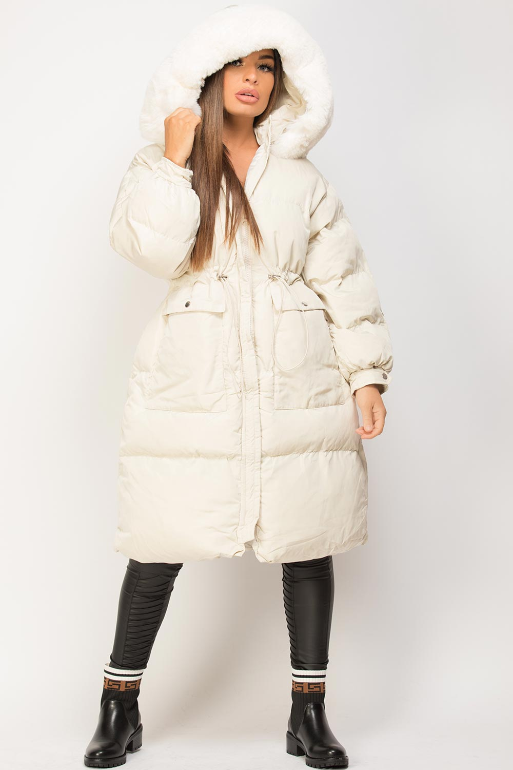 womens long puffer coat with faux fur hood cream