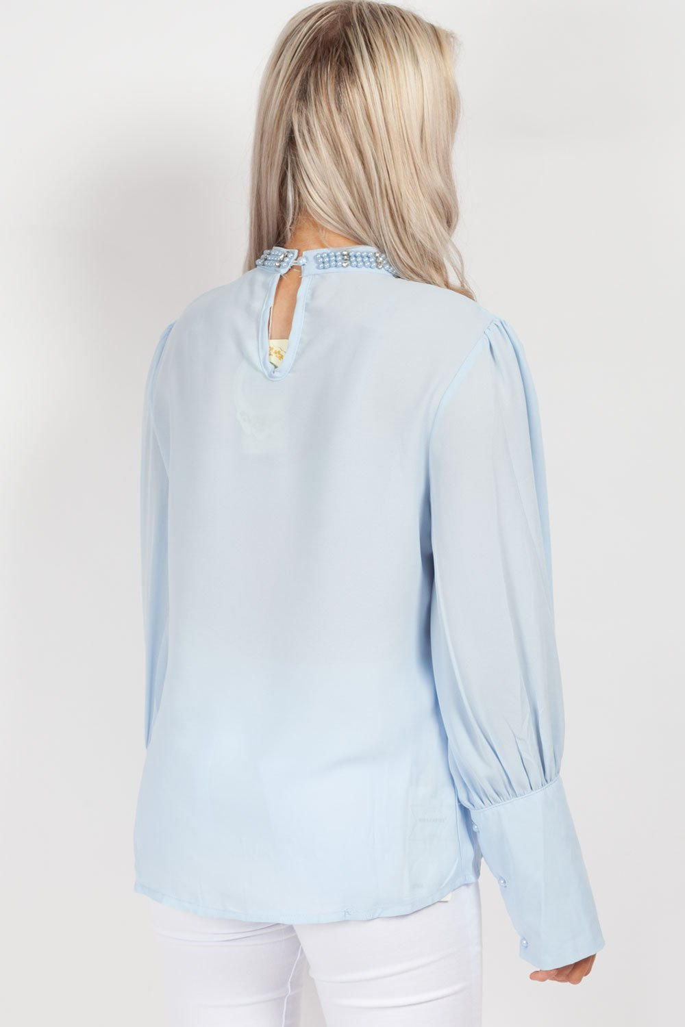 long sleeve party top blue