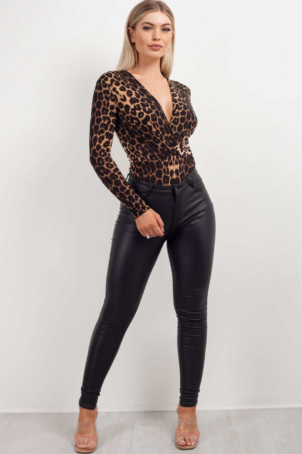 animal print long sleeve plunge bodysuit styledup fashion