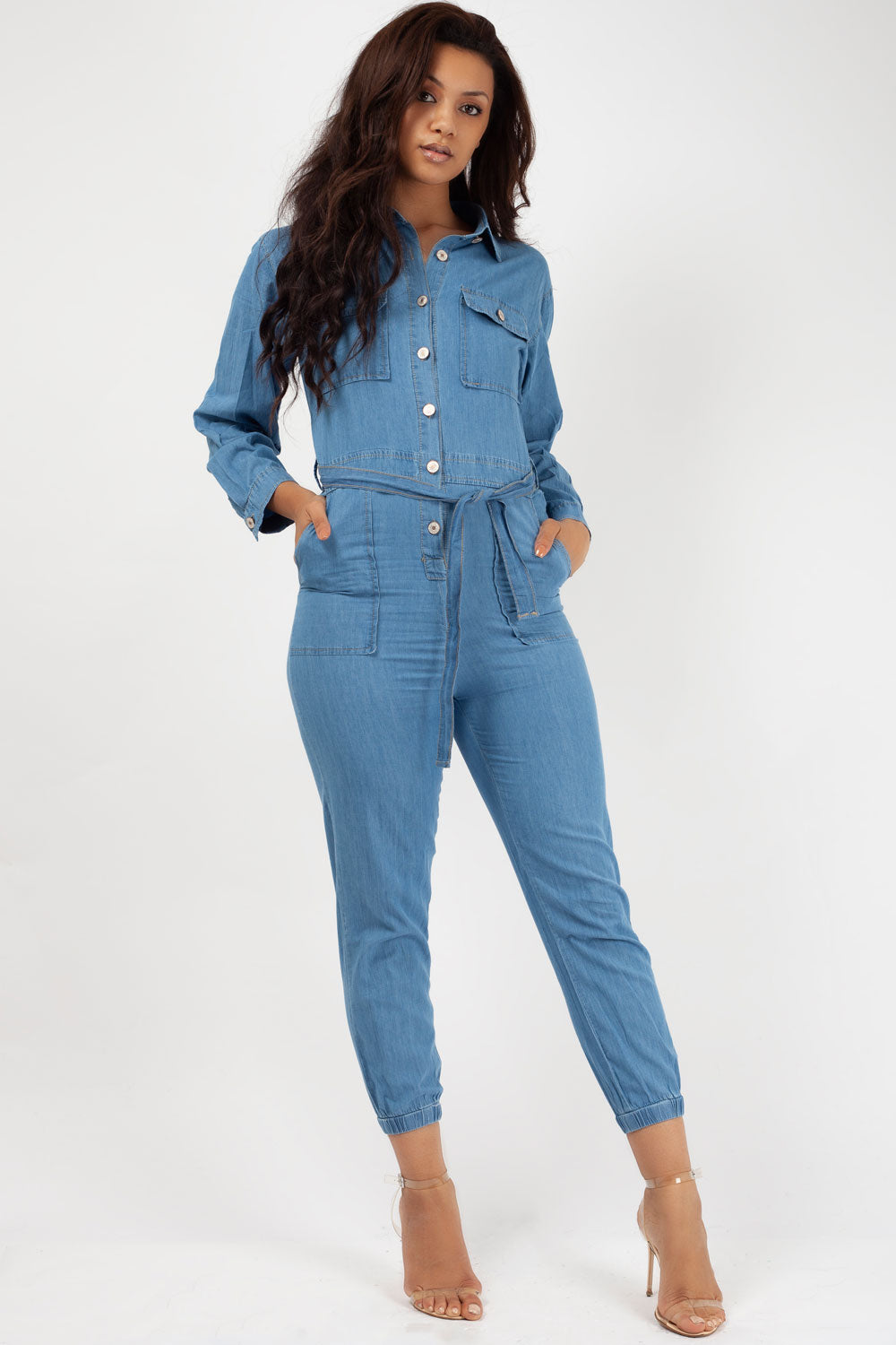 denim long sleeve jumpsuit styledup fashion