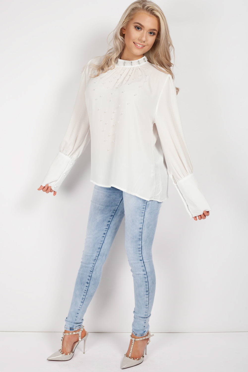diamante top uk cream white