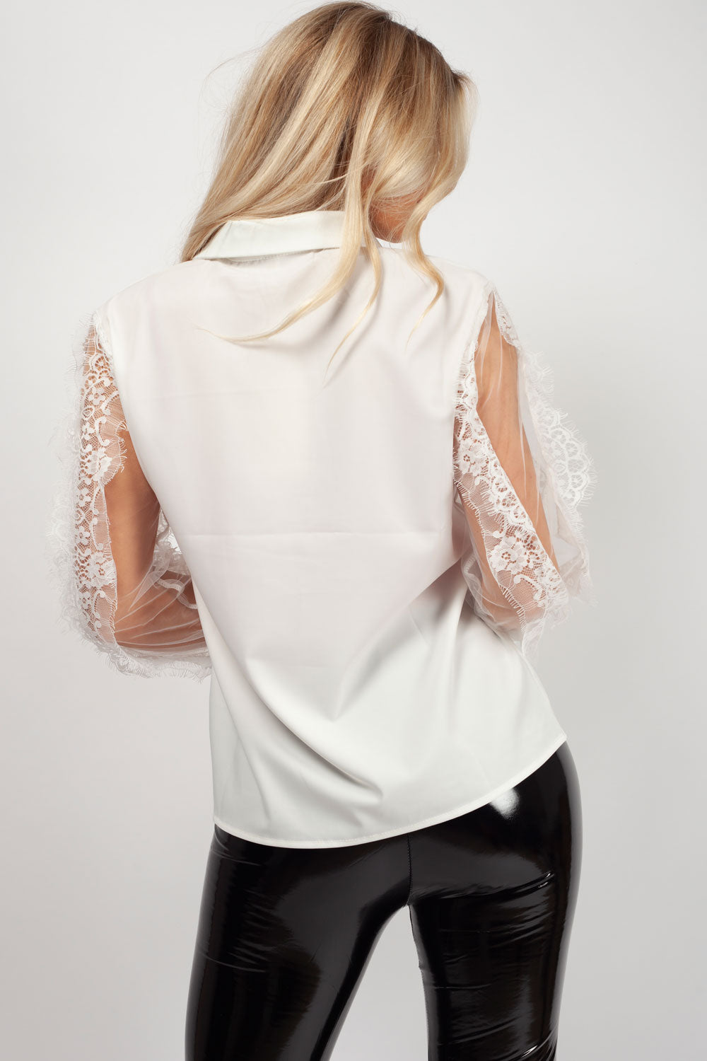 white lace arm shirt womens styledup fashion