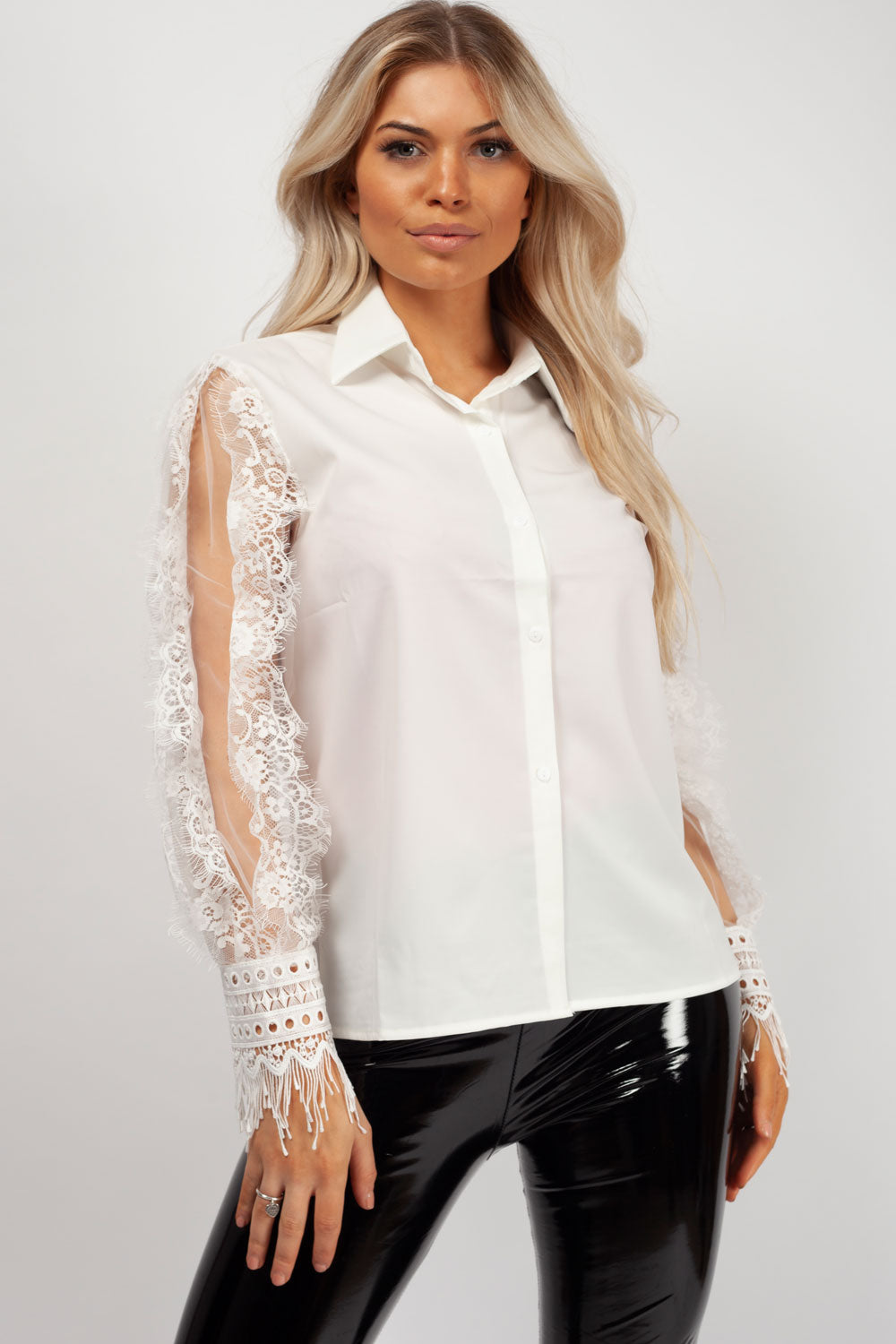 lace shirt white