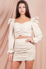 Ruched Front Skirt And Crop Top Set Blush