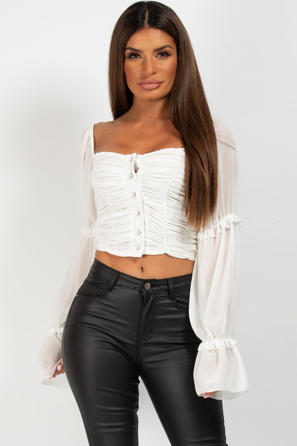 ruched crop top white