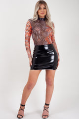 snake skin long sleeve bodysuit high neck