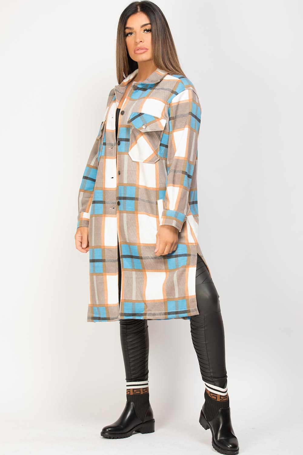 womens longline check shacket