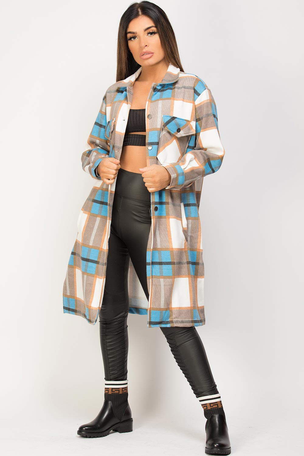 womens check long line shacket