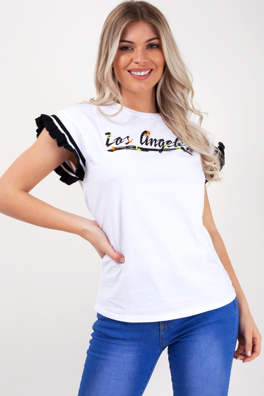 oversized los angeles slogan t shirt white