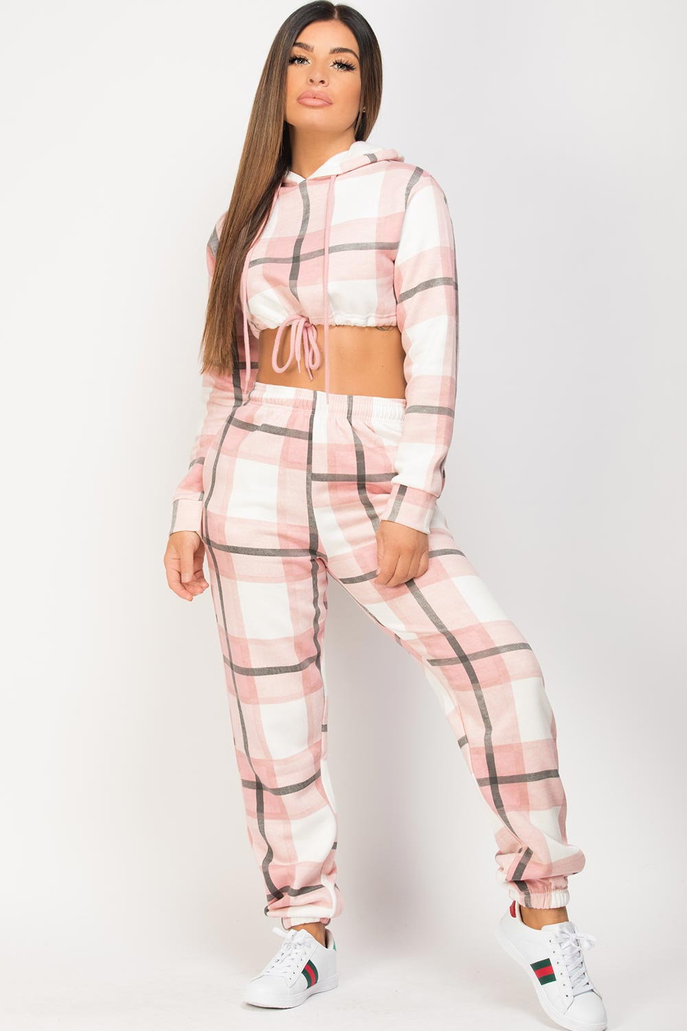 pink check hoodie and joggers lounge set