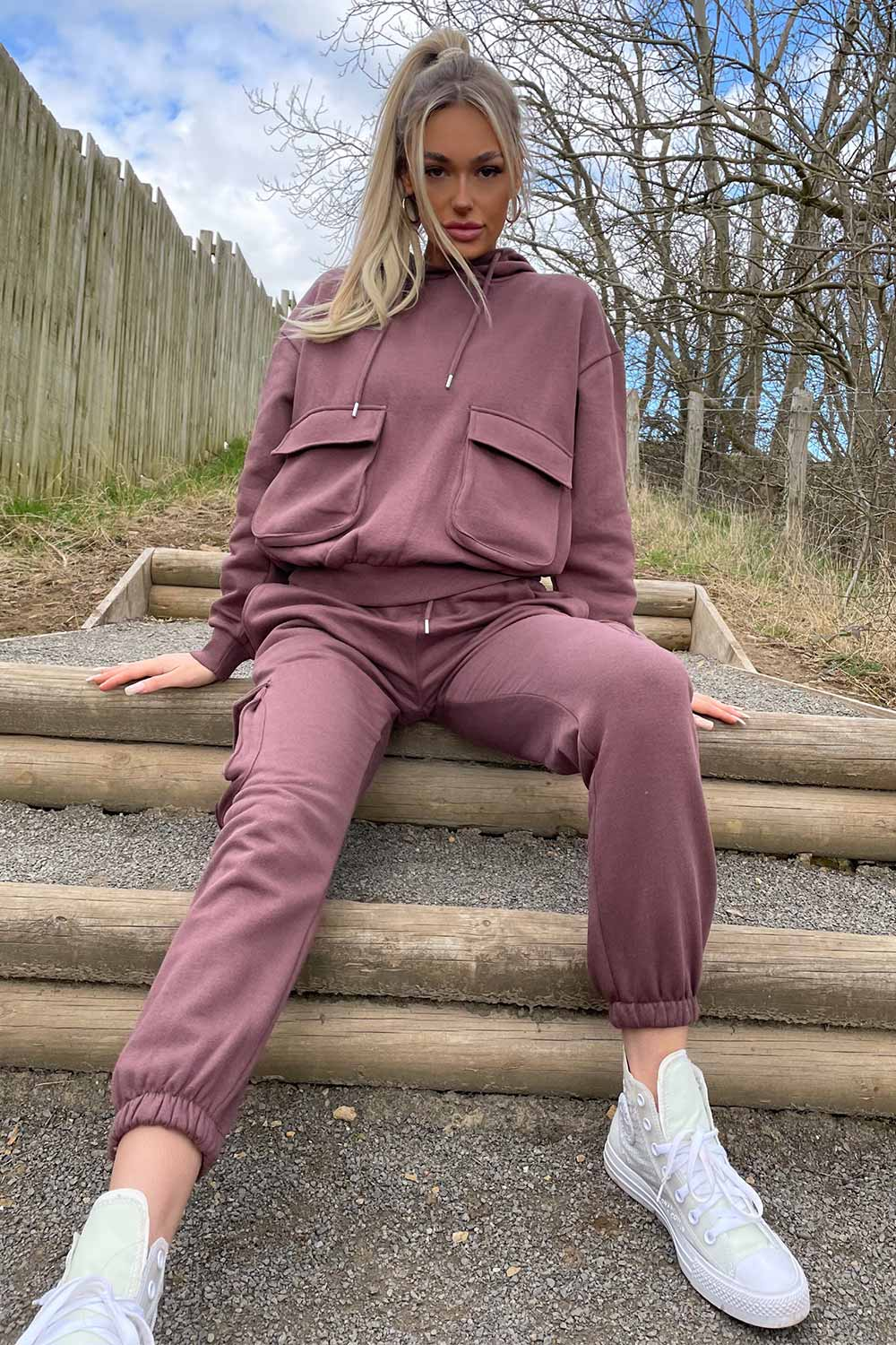brown loungewear set with utility pockets