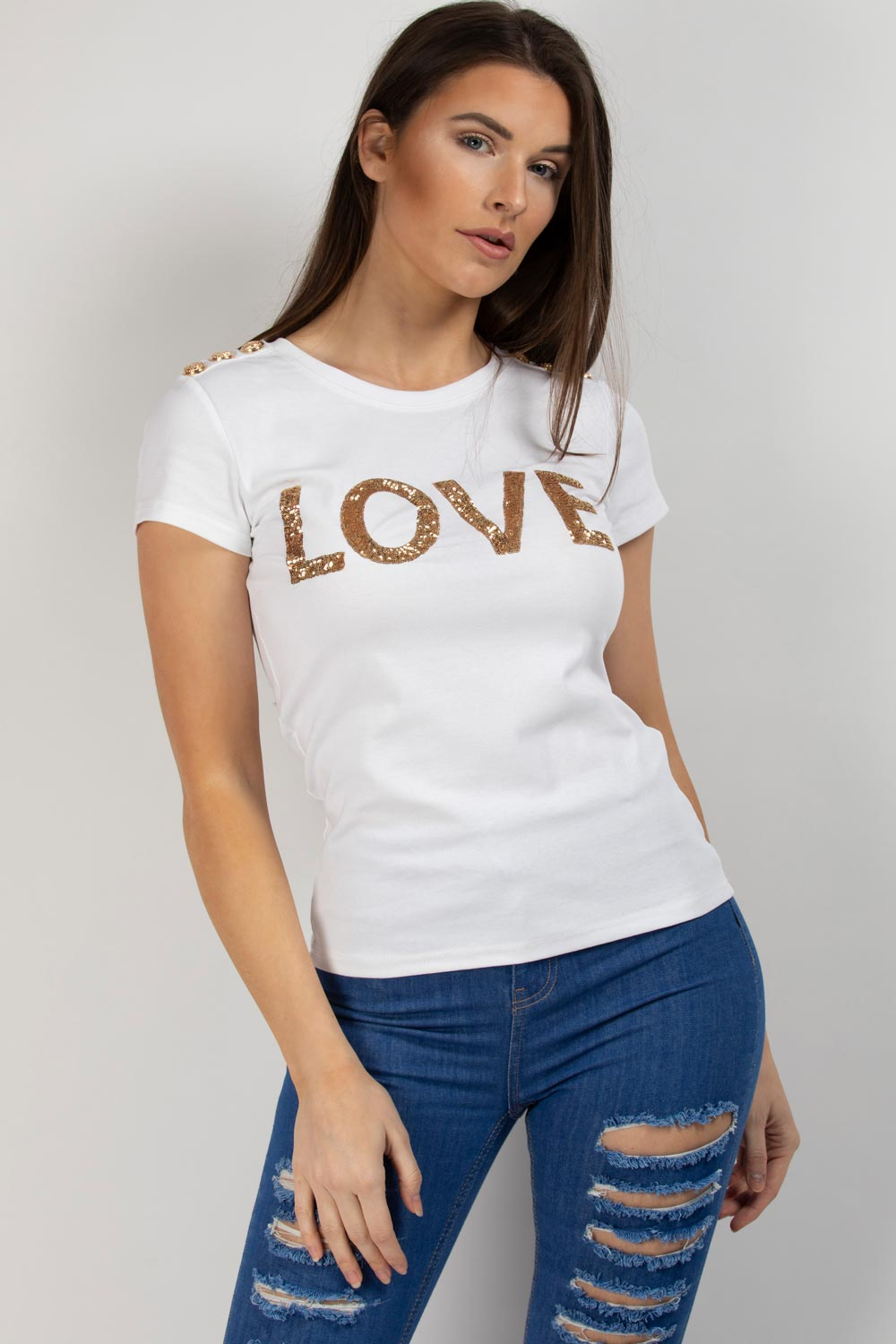 love slogan balmain inspired t shirt white