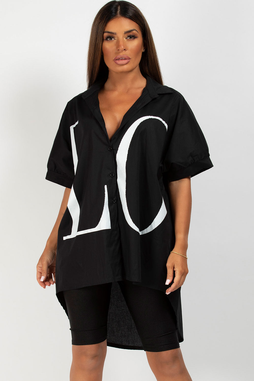 Love Oversized Shirt Black Valentino Inspired