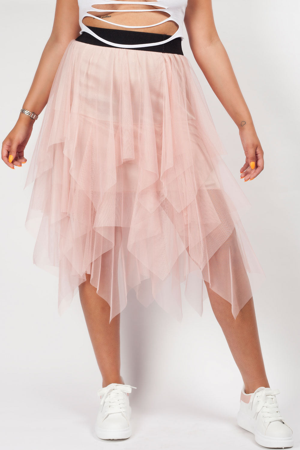 pink mesh high waisted midi skirt festival outfit