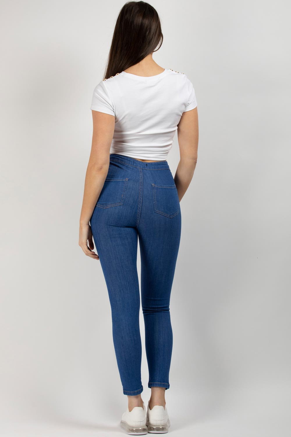 Mid Wash Blue Multi Rip High Waist Skinny Jeans