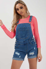 womens dungaree shorts