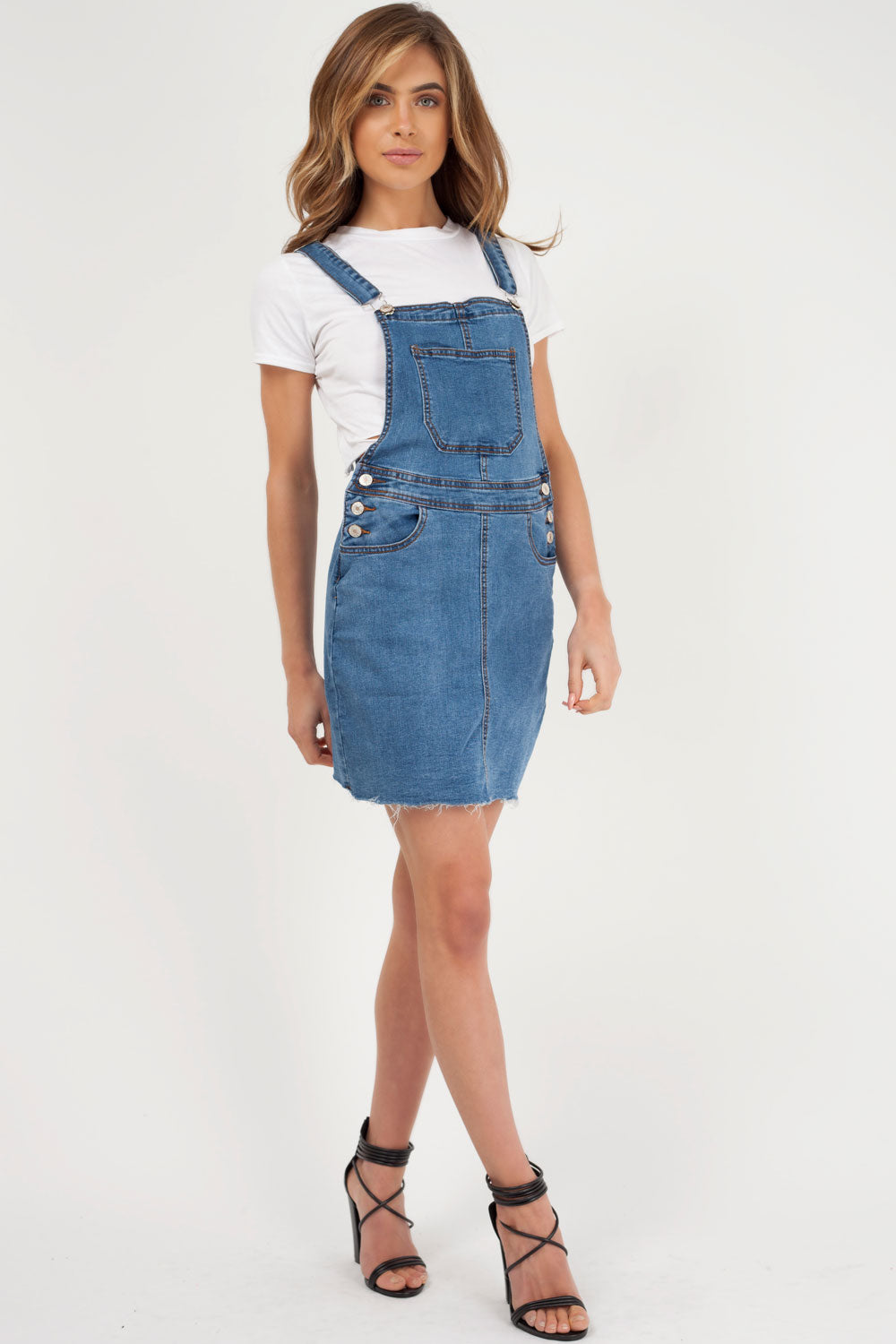 denim pinafore dress styledup fashion