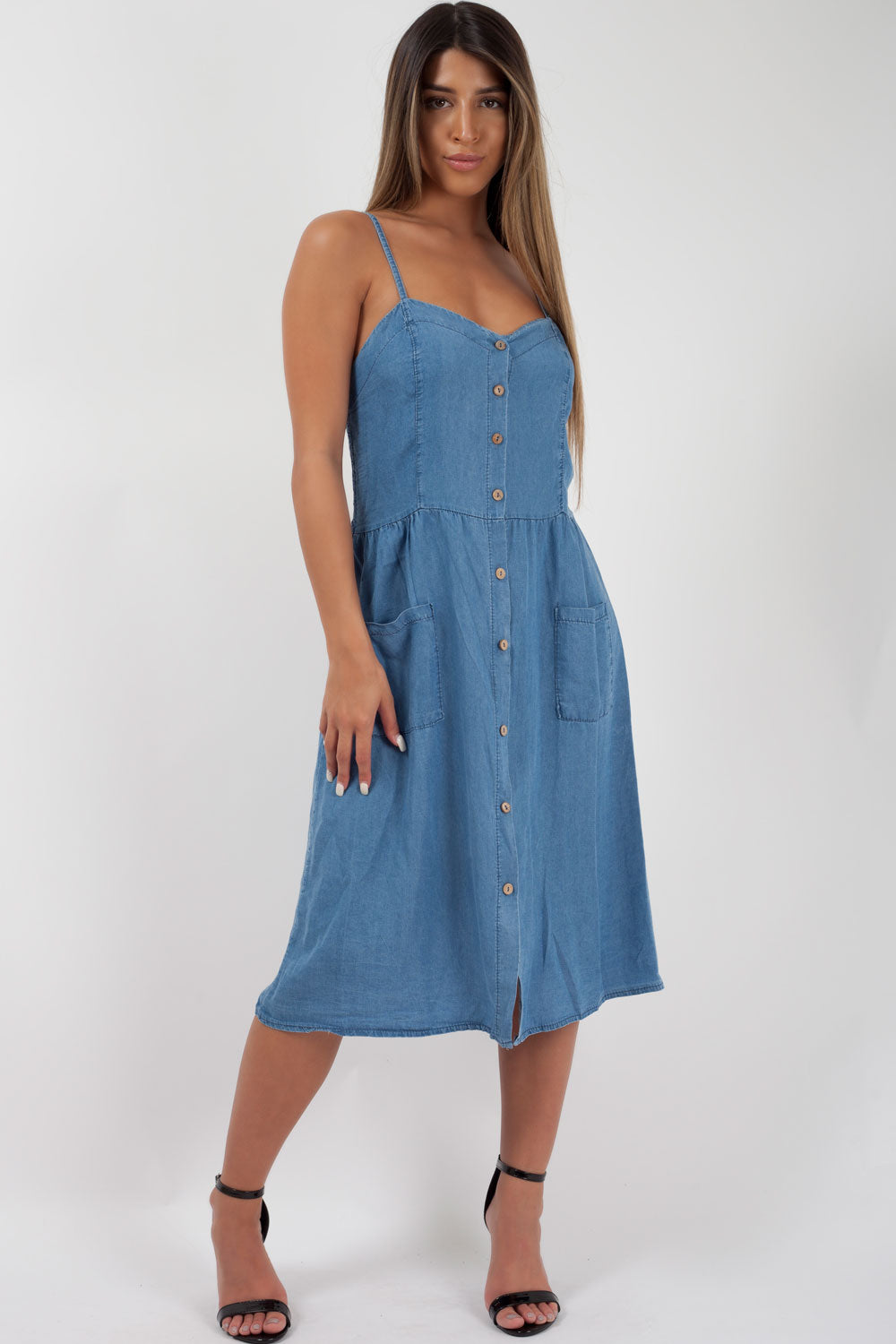 c96c9d83b33 Mid Wash Denim Summer Dress Holiday Outfit
