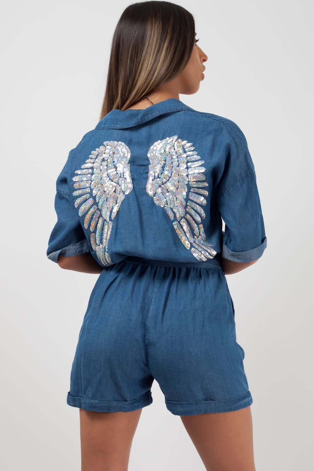 sequin wings denim playsuit