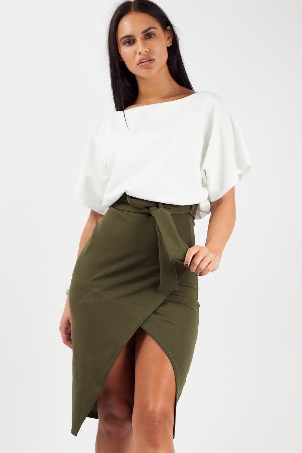 contrast khaki belted wrap front midi dress styledup fashion