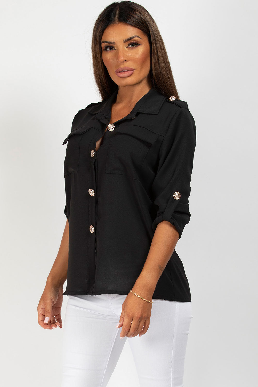 gold button shirt black