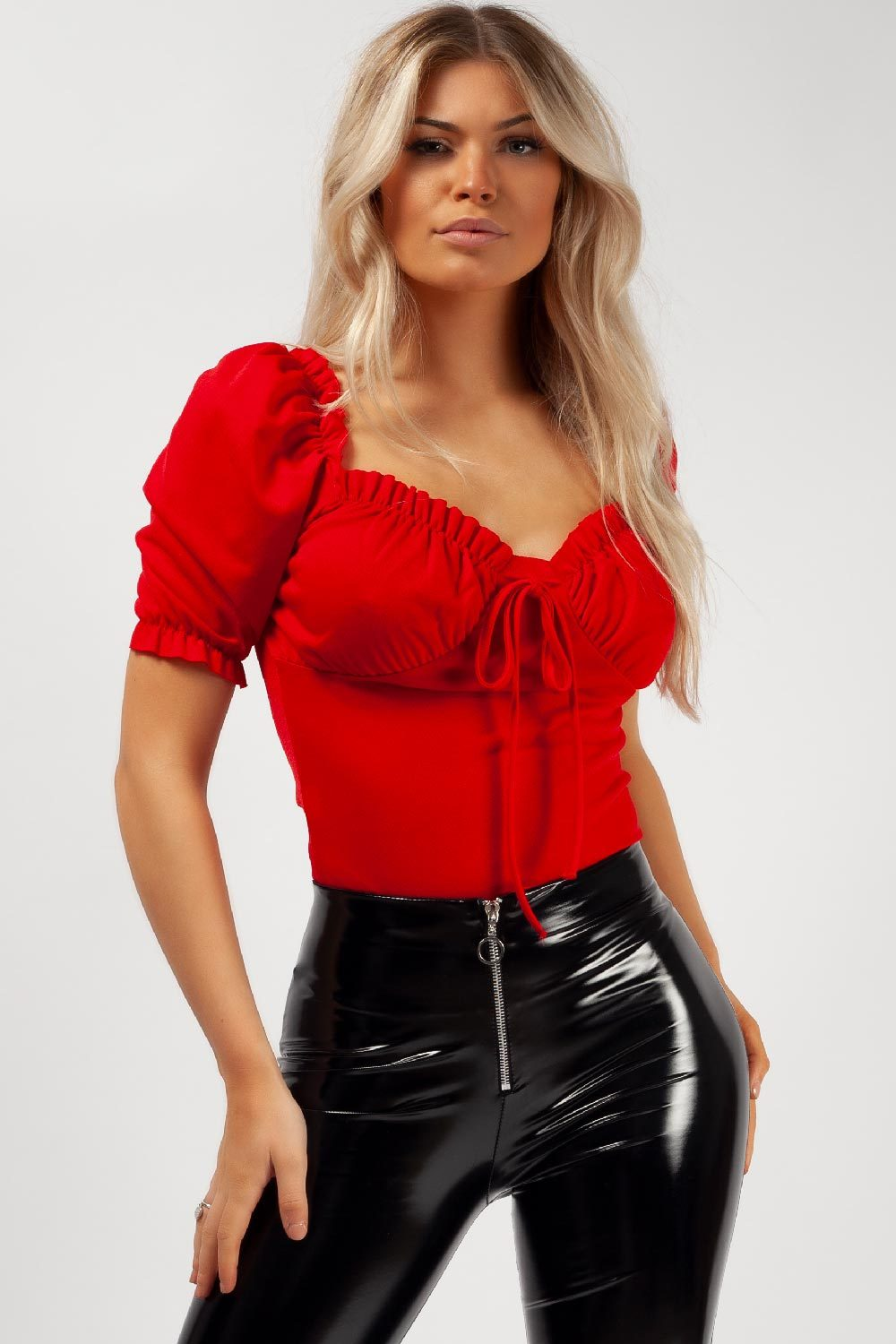 red bow front ruched detail top styledup fashion