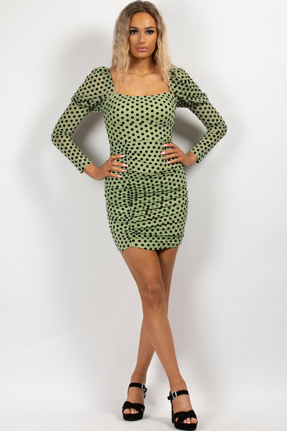 long sleeve polka dot mini bodycon dress