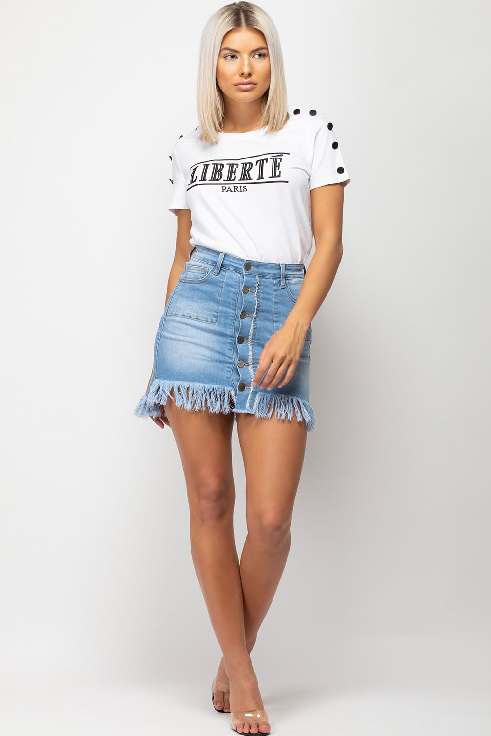 white liberte embroidery t shirt womens