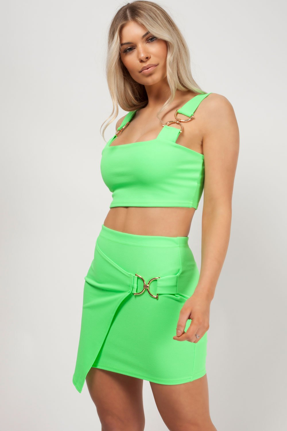 skirt co ord neon green styledup fashion