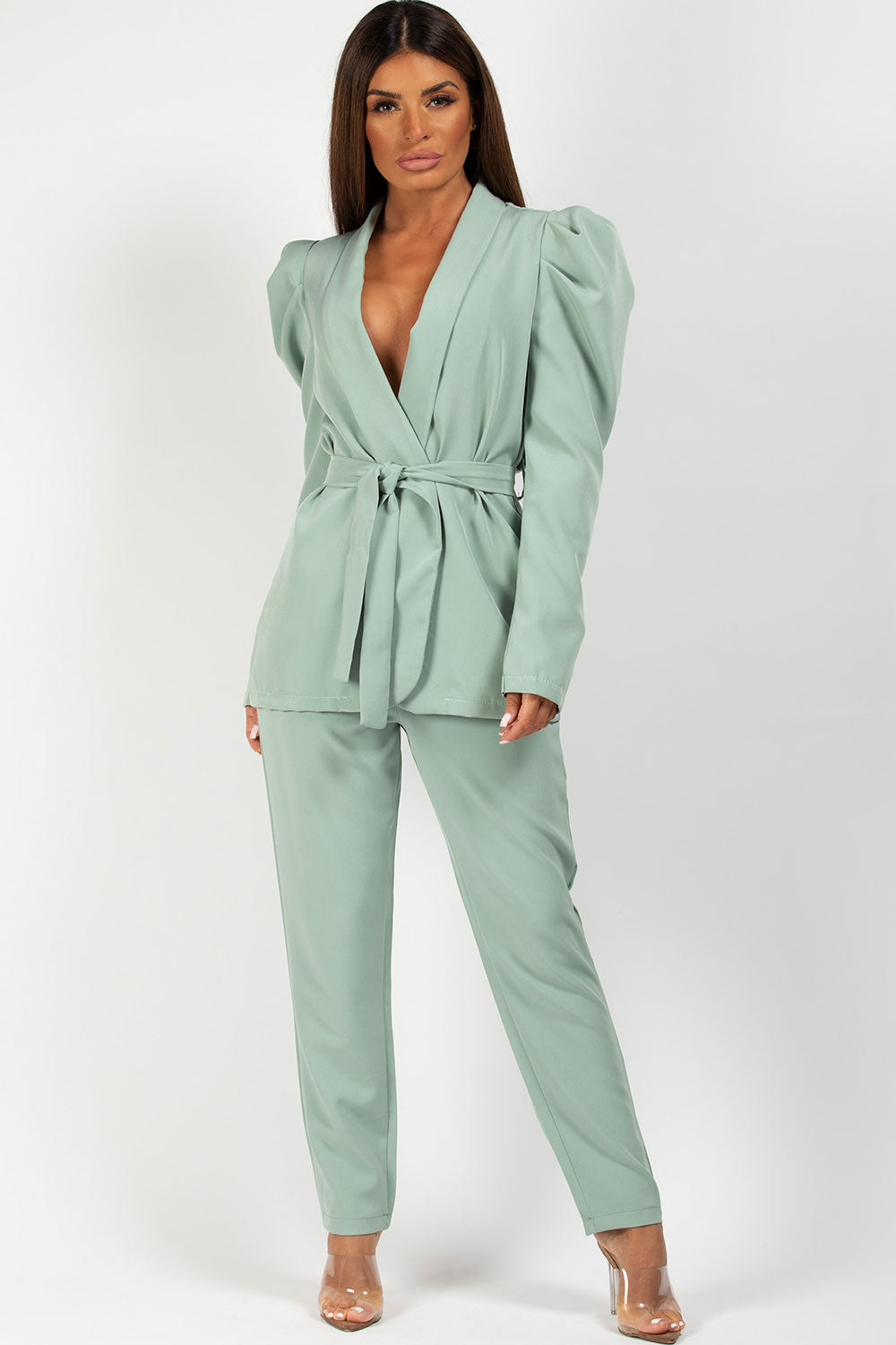 mint puff sleeve blazer and trousers set