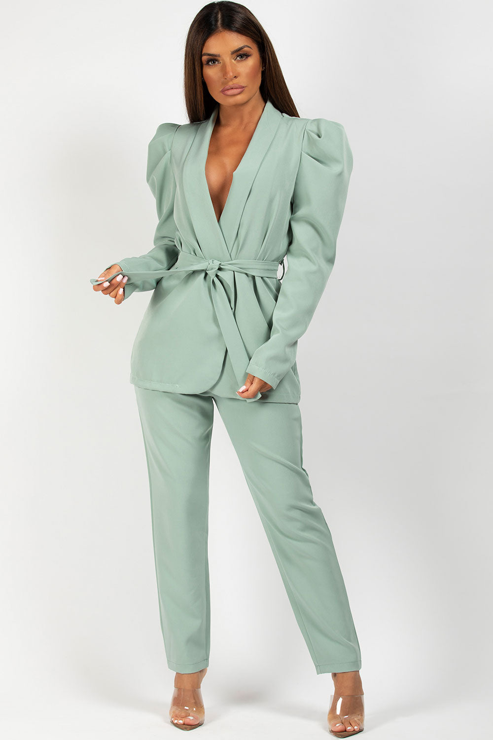 belted blazer and trousers set mint