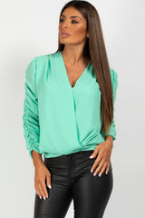 wrap over ruched sleeve blouse mint
